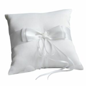 Anneau Pillow with Pocket Ribbon Cloth White for Wedding and Engagement Ceremony