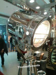 Antique Nautical LED Spot Light Steel Searchlight Studio Floor Lamp with Tripod