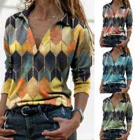 Fashion Geometric Print Loose Long Sleeve T Shirt Tunic Pullover V Neck Tops Tee