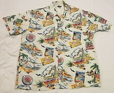 XXL Hawaiian Shirt Guess Jeans Cruise Beach Resort Wear Pocket Fishing Palms USA