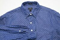 J. Crew Mens Casual Button Down Shirt Size Small Slim Fit Blue White Dots