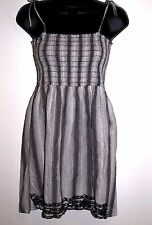 Majora Size Large Womens Black and White Plaid Sleeveless Dress Embroidery Trim