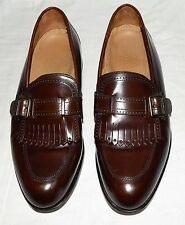 Stafford Executive Comfort Plus Brown Leather Kilt Fringe Mens Loafers Sz 10 D