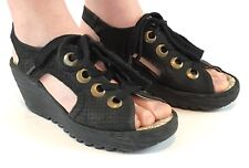 Womens Fly London Simb Rug Leather Work Wedge Heel Office Lace Up Shoes UK 3-10