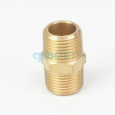 """3/8"""" NPT x 3/8"""" NPT Male Hex Nipple Brass Pipe Fitting Connector Adapter"""