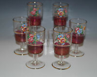 ANTIQUE  BOHEMIA RUBY STAIN, FLOWERS SET OF 6 CORDIALS, GOBLETS, HAND MADE