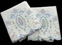 """Madeira Pillowcases 22""""x34"""" Heavily Embroidered Pastel Floral VTG. Unused w/Tag"""