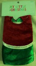 """Nwt My Little Christmas 12"""" Mini Velvet Tree Skirt, Crimson & Green w/Sequins"""