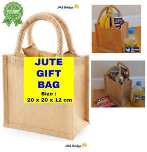 5 x Jute Hessian Mini Bag with Natural Colour Cotton Corded Handles