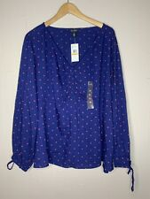 NWT Jessica Simpson Kinsley Navy Blue Hearts Peasant Knit Blouse Top 3X NEW $69