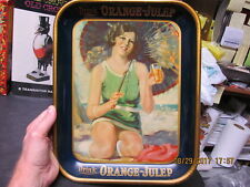 ORANGE JULEP SERVING TRAY 1920's GIRL IN SWIMSUIT AMERICAN ART WORKS LIGHT WEAR
