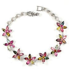 Blumen-Armband, NATURAL MEHRFARBIGE TURMALIN, 925 STERLING SILBER, VERGOLDET