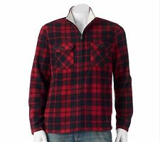 Classic-Fit Red/Black Buffalo Trucker Plaid Arctic Fleece Jacket Sz XXL NWT $70