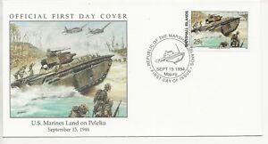 50th Ann WWII Comm/FDC - Marshall Isles - US Marines Land Peleliu  - 1994(1947)Z