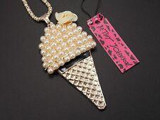 Betsey Johnson fashion jewelry pearl ice cream pendant necklace # F