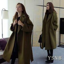 Retro Women Lapel Loose Wool blend Outwear Winter Warm Parka Long oversize Coat