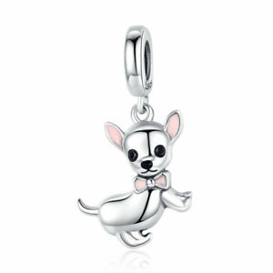Authentic 925 Sterling Silver Naughty chihuahua Charm Jewelry For Fashion Women