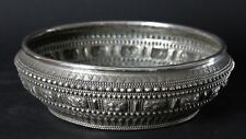 Antique Laotian early 20 th. century Large Solid Silver Offering Bowl