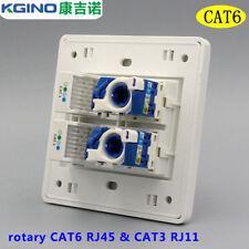 Wall Socket Plate Kgino 2 port rotary CAT6 RJ45 & 2 Port CAT3 RJ11 Faceplate