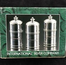 1998 INTERNATIONAL SILVER CO. SILVERPLATED 3 PC. EXPRESSO SHAKER SET-NIB!