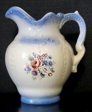Arners Ceramic Water Pitcher White Blue Floral Victorian Design