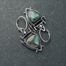 925 Silver Ruby Amber Turquoise Earrings Sapphire Moonstone Ear Hook Drop Dangle