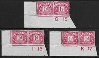 SG D2. Postage Due 1d.Carmine Control Pairs-G15,I16,K17-All Imp.Margin. Ref:0.52