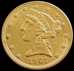 1901 S GOLD USA $5 DOLLAR LIBERTY HEAD HALF EAGLE COIN SAN FRANCISCO