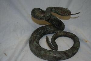 Züngelnde Bronze-Klapperschlange, Belgien, sehr schöne Antkpatina, D:27cm
