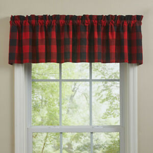 """Wicklow Red Black Buffalo Check Rustic Country Farmhouse Valance 72"""" x 14"""""""