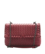 Bottega Veneta Baby Olimpia Red Intrecciato Leather Shoulder Bag d18f9ba52ac37
