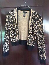 INC International Concepts Petite Leopard Cardigan Crop Sweater PS