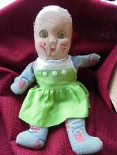 Antique Plasticized Fabric Face Girl Doll with Dress Primitive Country Toy