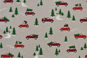Christmas Cars Fabric - American Christmas Themed Design