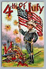 4th OF JULY PATRIOTIC ANTIQUE POSTCARD - BOY w/ AMERICAN FLAG