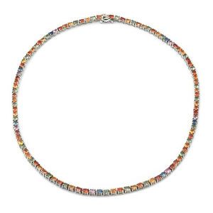 """Platinum Over Sterling Silver Multi Sapphire Tennis Necklace Size 18"""" Ct 24.7"""