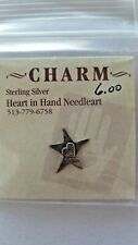 Heart In Hand Heart In Star Charm Sterling Silver Cross Stitch