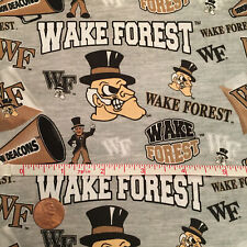 """NCAA Wake Forest University Cotton Fabric 1/4, 1/2, Yard, 44""""W for Face Masks!"""