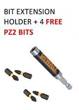 Dewalt MAGNETIC BIT EXTENSION HOLDER WITH 4 FREE PZ2 EXTREME TORSION BITS SET