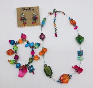 NWOT Treska Dangle Earrings Bracelet and Necklace Bright Colorful Beads Stones