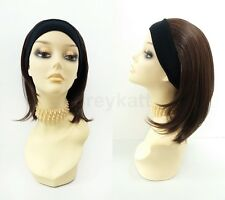 Short Straight Dark Brown & Copper Headband Wig Heat Resistant Safe 14""