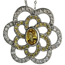 Flower Necklace Pave Diamonds Yellow Sapphires In Statement Necklace 14k Gold