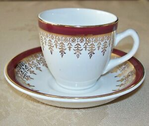 Burgundy & Gold pattern 27 Coffee Cups & 64 Saucers in Royal Falcon Ironstone