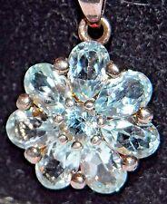 Vintage NECKLACE Sterling Silver/JC Topaz Blue Flower