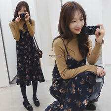 Korean Summer Women Spaghetti Strap V Neck A Line Loose Tunic Dress Sundress New