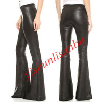 Occident Lady PU Leather Pants Elastic Bell Bottoms Slim Long Trousers Black New
