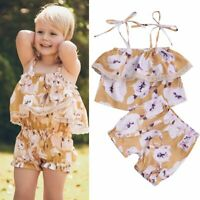 Toddler Kids Baby Girl Floral Outfits Clothes T-shirt Tops+Pants/Shorts 2PCS Set