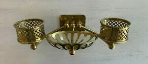Antique Silvers Co. Brass Double Beaded Cup Glass Holder Soap Dish Vtg 196-20J