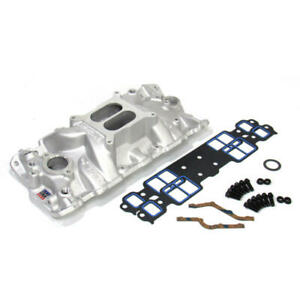 Edelbrock Intake Manifold 2701 Kit; Performer EPS with Bolts & Gaskets for SBC