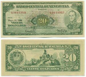 VENEZUELA NOTE 20 BOLIVARES 1966 PREFIX G FAKE OUNTERFEIT P 43e UNC